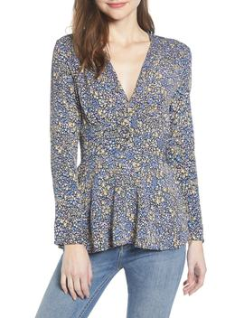 Floral Smocked Detail Peplum Blouse by Leith