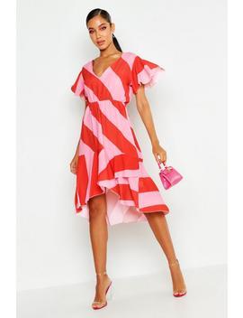 Woven Stripe Midi Dress by Boohoo