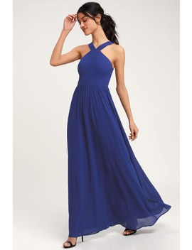 Air Of Romance Royal Blue Maxi Dress by Lulus
