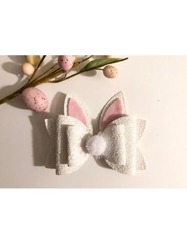 """<Span Data Inner Title="""""""">Easter Bow   Easter Bunny Bow   Spring Bow   White Glitter Bow   5 Inch Bow</Span> by Etsy"""