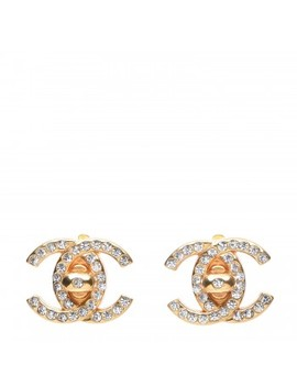 Chanel Crystal Cc Turn Lock Clip On Earrings Gold by Chanel
