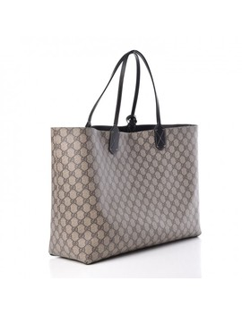 Gucci Calfskin Gg Supreme Monogram Large Reversible Tote Black by Gucci
