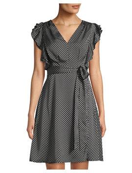 Faux Wrap Polka Dot A Line Dress by Philosophy