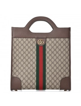 Gucci Gg Supreme Monogram Web Medium Ophidia Top Handle Tote Brown by Gucci