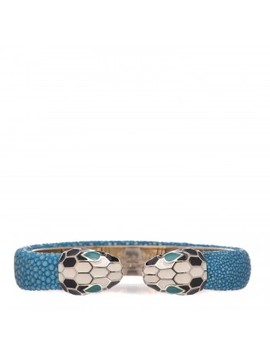 Bulgari Galuchat Serpenti Forever Bracelet Aquarelle Turquoise by Bulgari