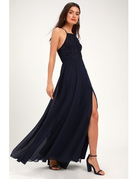 Love Always Remains Navy Blue Lace Maxi Dress by Lulus