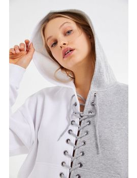 Uo Tegan Spliced Lace Up Hoodie Sweatshirt by Urban Outfitters
