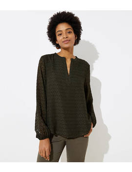 Lace Split Neck Blouse by Loft