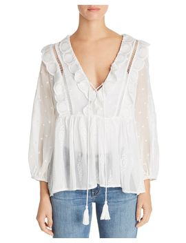 Embroidered Ruffled Sheer Top   100 Percents Exclusive by Aqua