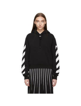 Black Diag Crop Hoodie by Off White