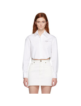 White Basic Crop Shirt by Off White