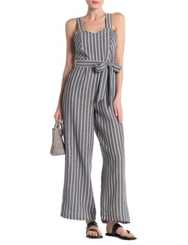 Stripe Woven Jumpsuit by Melloday