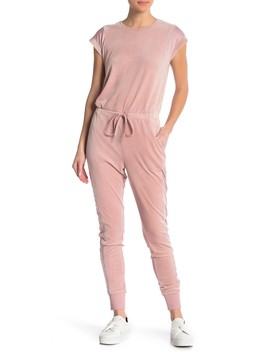 Short Sleeve Mesh Inset Velour Jumpsuit by Material Girl