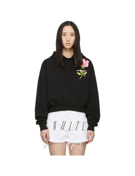 Black Cropped Flower Hoodie by Off White