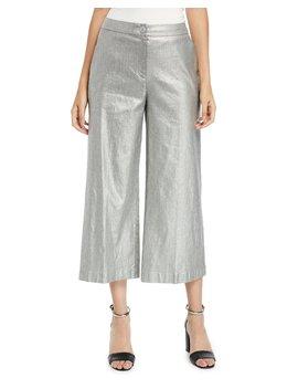 Metallic Wide Leg Cropped Linen Cotton Pants by Eileen Fisher