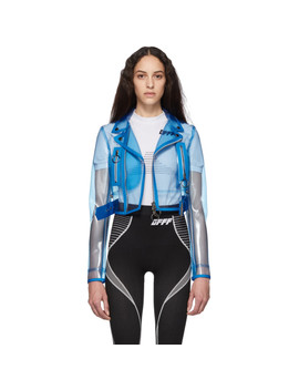 Blue Pvc Cropped Biker Jacket by Off White