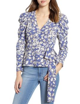 Puff Sleeve Floral Wrap Top by Astr The Label