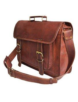 """18"""" Large Brown Leather Bag For Men Messenger Bag Shoulder Bag Mens Laptop Bag by Jaald"""