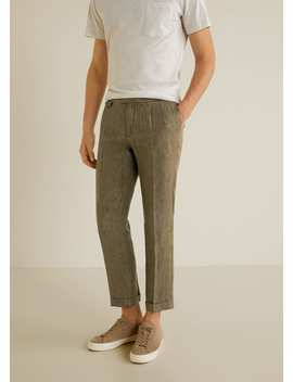 Regular Fit Pleated Linen Trousers by Mango