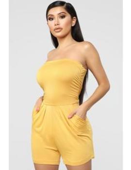 Glenda Romper   Mustard by Fashion Nova