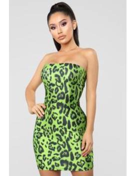 Just Too Wild Animal Print Tube Dress   Green/Black by Fashion Nova