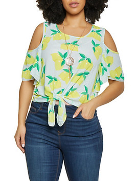 Plus Size Tie Front Cold Shoulder Top With Necklace by Rainbow