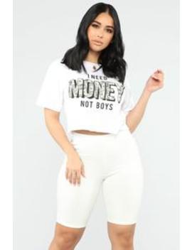 I Need Money Not Boys Crop Top   White by Fashion Nova