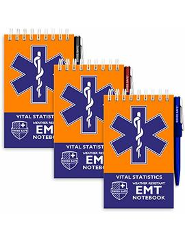 Emt Vital Notebook (3 Pack)   Includes 3 Pens, 140 Waterproof Pages/Notepad. Designed For Emergency First Responders, Ems Medical Professional by Swiss Safe
