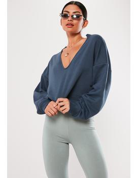Blue Oversized V Front Sweatshirt by Missguided