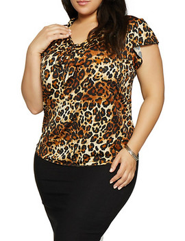 Plus Size Leopard Tie Neck Top by Rainbow