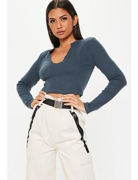 Navy Long Sleeve Notch Front Crop Top by Missguided