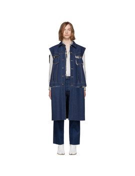 Blue Denim Cut Out Jacket by Maison Margiela