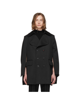 Black Milano Jersey Peacoat by Maison Margiela