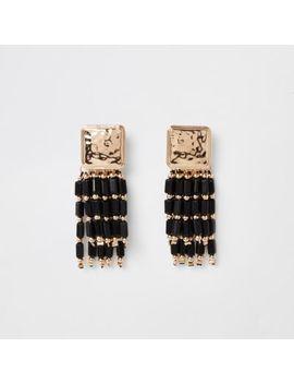 Black Bead Drop Earrings by River Island