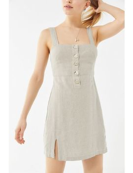 Uo Avalon Linen Button Front Mini Dress by Urban Outfitters