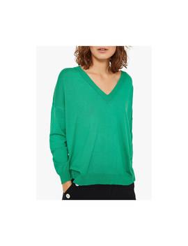 Mint Velvet Boxy V Neck Jumper, Green by Mint Velvet