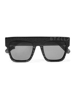 Crystal Embellished D Frame Glittered Acetate Sunglasses by Stella Mc Cartney