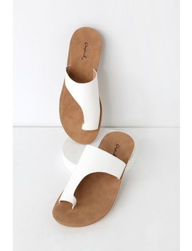 Cierra White Toe Loop Slide Sandals by Lulu's