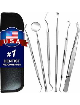 Dental Tools, 6 Pack Teeth Cleaning Tools Stainless Steel Tartar Remover Plaque Scraper Tooth Pick Hygiene Set With Mouth Mirror, Tweezer Kit For Dentist, Family Oral Care, Dogs   With Leather Case by G.Catacc
