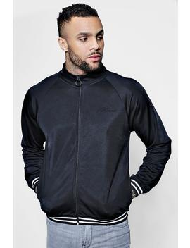 Funnel Neck Man Signature Zip Through Track Top by Boohoo
