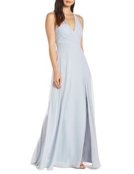 Bryce Surplice V Neck Chiffon Evening Dress by Jenny Yoo