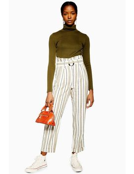 Stripe Belted Peg Trousers by Topshop