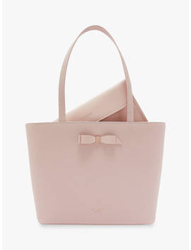 Ted Baker Jessica Bow Leather Shopper Bag, Light Pink by Ted Baker