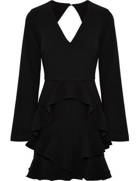 Havana Cutout Ruffled Crepe Mini Dress by Rebecca Vallance