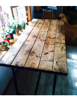 Farmhouse Table Style Rustic Island With Pipe Legs Industrial Pipe Table Harvest by Etsy