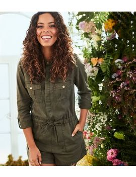 Khaki Lightweight Tie Waist Playsuit by New Look