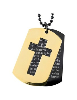 Men's West Coast Jewelry Two Tone Stainless Steel Cross And 'lord's Prayer' Double Dog Tag Pendant by West Coast Jewelry