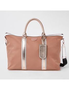 Beige Mixed Panel Weekend Bag by River Island