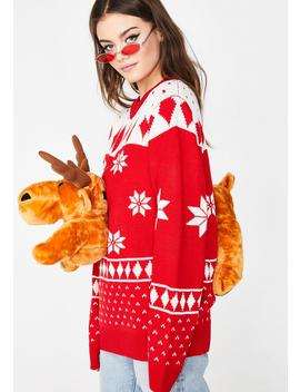 Lit 3 D Christmas Moose Sweater by
