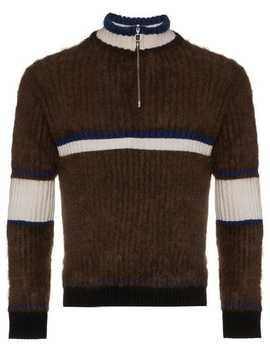 Zip Neck Stripe Merino Wool Jumper by Helen Lawrence